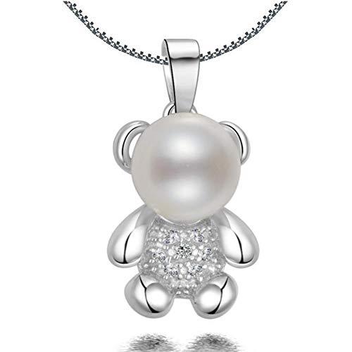 Likass Ms. 925 Sterling Silver Necklace Silver Pendant, La Mejor Opción para El Día De San Valentín, Regalo De Año Nuevo, Recuerdo De Aniversario,Símbolo De Amor-Oso Perla