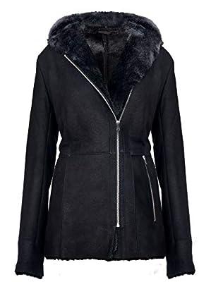 Infinity Leather Women's Elegant Black Snowtip Hooded Suede Merino Shearling Sheepskin Coat XL