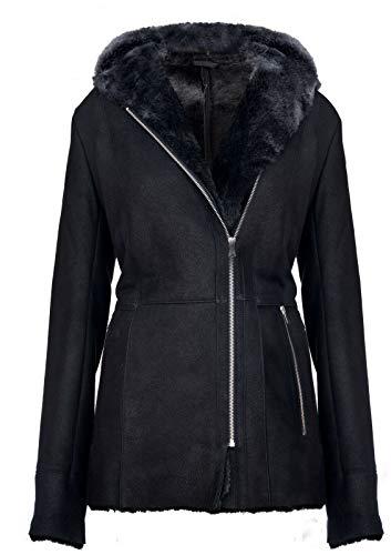 Infinity Leather Eleganter Schwarzer Snowtip Kapuzenmantel aus Wildleder mit Lammfell und Merinowolle für Damen 2XL