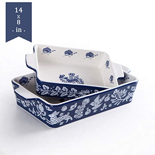 Bakeware Set,SIDUCAL 2 PCS Ceramic Baking Dish Set,Rectangular Home Cookware Pans with Double Handle,Casserole Dish for Cooking,Kitchen,Blue