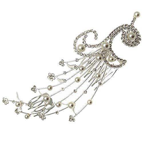 Acosta - Grote Diamante Kristal & Parel Spray - Bruids Haaraccessoires Kam