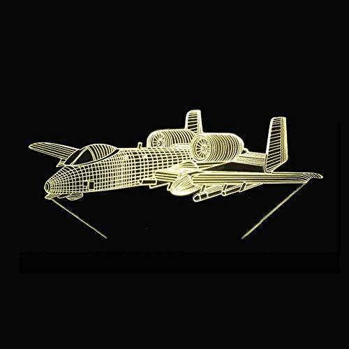Primaire Primaire Hoofdverlichting met 3D led, 7 kleuren, creatieve besturing vliegtuig modellering touch nachtlampje decor tafellamp