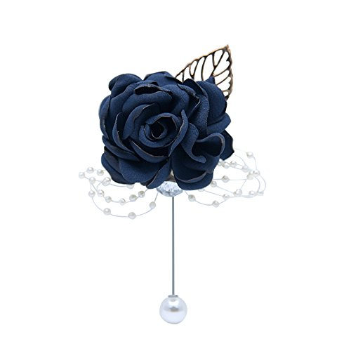Abbie Home Classic Boutonnière for Prom Party Wedding Ball Event Blooming Rose Rhinestone Pearl Decent Brooch Pin for Suit Dress (Navy Blue)
