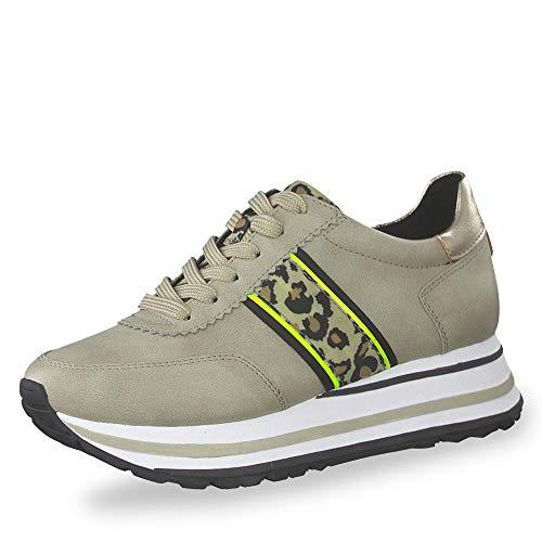 Tamaris Damen Plateau Sneaker Beige/Leoprint, Schuhgröße:EUR 36