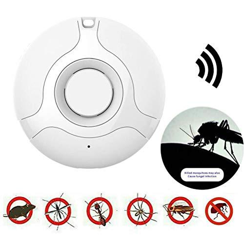 SyeRum Ultraschall Schädlingsbekämpfer, USB Tragbar Runde intelligente Frequenzumwandlung Mückenschutz,Ungiftig und menschlich freundlich Mückenschutzmittel für Häuser, Büros, Camping