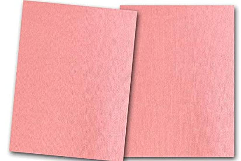 Premium Pearlized Metallic Textured Strawberry Cream Pink Card Stock 20 Sheets - Matches Martha Stewart Strawberry Cream - Great for Scrapbooking, Crafts, Flat Cards, DIY Projects, Etc. (8.5 x 11)