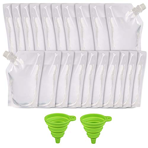 20pcs 16oz Plastic Flask for Liquor, Drink Pouches for Adults, Liquor Pouch Bulk, with 2 Collapsible...
