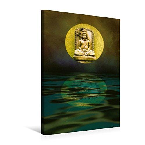 CALVENDO Premium Textil-Leinwand 50 cm x 75 cm hoch, Buddhafigur   Wandbild, Bild auf Keilrahmen, Fertigbild auf echter Leinwand, Leinwanddruck: Mystische Spiegelung Glaube Glaube