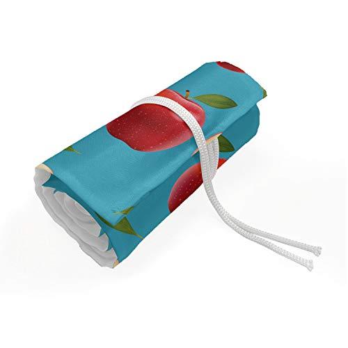 ABAKUHAUS Apfel Mäppchen Rollenhalter, Red Delicious Gesunde Lebensmittel, langlebig und tragbar Segeltuch Stiftablage Organizer, 48 Schlaufen, Creme Blau Rubin