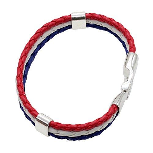 Huntgold bandiera nazionale trendy chiusura a 3strati del braccialetto intrecciato a mano braccialetto (rosso/bianco/blu)