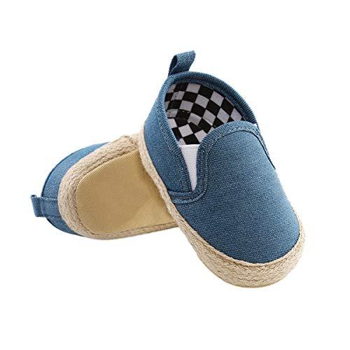 DEBAIJIA Bebé Primeros Pasos Zapatos 12-18M Niños Suave Suela Antideslizante Ligero Slip-on Zapatillas 20 EU Azul (12-18)