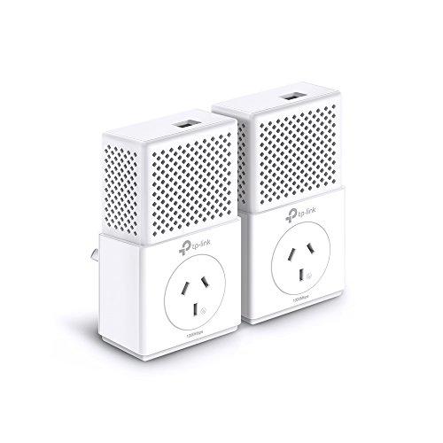 TP-Link AV1000 1-Port Gigabit Powerline Adapter, Power Outlet Pass-through, Up to 1000Mbps (TL-PA7010P KIT),White