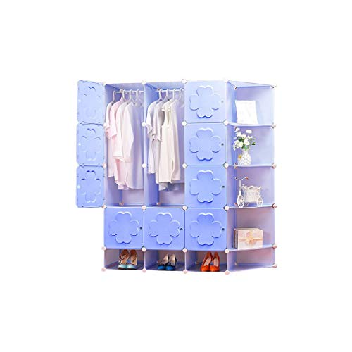 Great Price! QSJY Bedroom Armoires Assemble Plastic Cloth Wardrobe Cube Organiser Blue 147×47×165c...