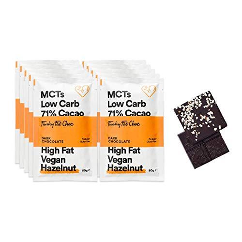 Vegane Schokolade mit 71% Kakao, zuckerfreie Schokolade mit Haselnuss gesüßt, Glutenfrei, Low Carb, Bio Zartbitterschokolade, 10x50g Tafeln