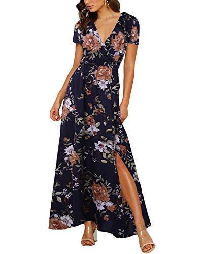 Auxo Vestido Largo Verano Mujer Estampado Floral Vestidos Bohemios Manga Corta Cuello V Vestido Playa Largo Armada XXL