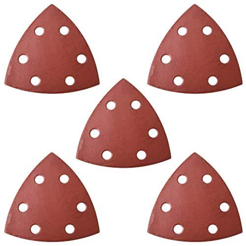 Papel de lija para lijadora minorista, papel de lija triangular, almohadillas de lija con ganchos y hebillas, multioscilante triangular, grano 1200 6 agujeros, 5 unidades