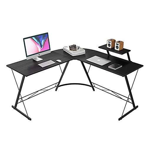 DFLKP Escritorio de Oficina en Forma de L 50,8'Escritorio de Juegos de Esquina para el hogar Escritura de Estudio Mesa de Ordenador PC Estación de Trabajo,Negro,50.8'×50.8'×28'