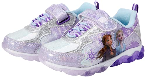 Disney Girls' Frozen Sneakers - Laceless Light-Up Running Shoes (Toddler/Little Girl), Size 10 Toddler, Purple Elsa and Anna