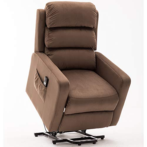 Bonzy Home Recliner New Electric Powered Lift Recliner Chair with Remote Control - Home Theater Seating - Bedroom & Living Room Chair Recliner Sofa for Elderly (Brown D134)