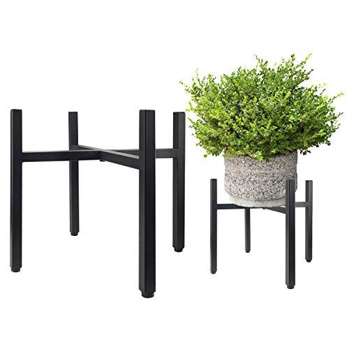 Urban Deco Plant Stand – 10'' Matte Black Metal Indoor Outdoor Vintage Plant Pot Stands – Flower Rack Corner Planter Holder for Living Room Balcony Garden Patio