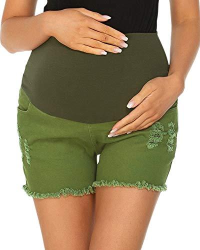 Love2Mi Schwangerschafts Jeansshorts Umstandsshorts mit Elastische Bauchband Sommer Umstandshose,Armeegrün,M