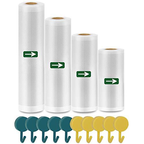 %10 OFF! Vacuum Sealer Bags Rolls - 4 Pack (Width 6''/8''/10''/11'', Length 16.5')...