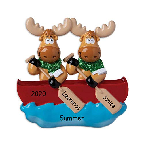 Personalized Moose Family of 2 on Canoe Christmas Tree...
