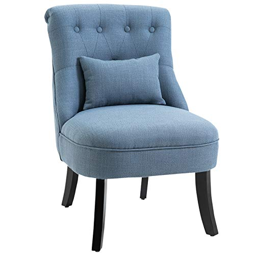 HOMCOM Fabric Single Sofa Dining Chair Tub Chair Upholstered W/Pillow Solid Wood Leg Home Living Room Furniture Blue
