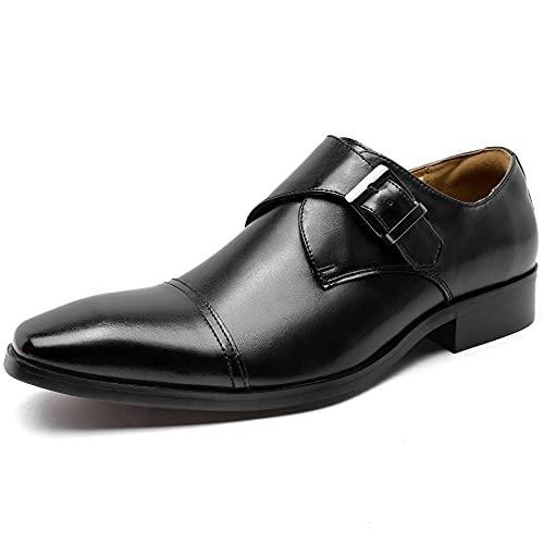 [フォクスセンス] ビジネスシューズ 本革 革靴 軽量・撥水 紳士靴 メンズ ドレスシューズ モンクストラップ ブラック 26.0cm P273-01