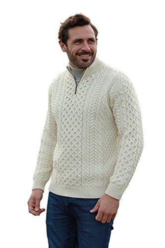 Men's Merino Wool Aran 1/2 Zipper Sweater (Large, Merino White)