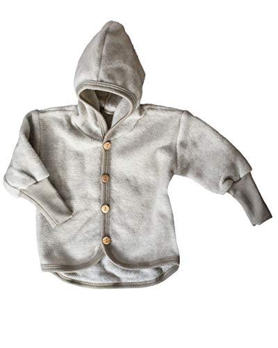 Cosilana Baby Jäckchen mit Kapuze aus weichem Wollfleece, 100% Schurwolle kbT, größe 62/68