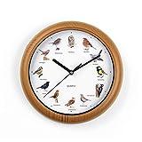 CLEANmaxx Horloge Murale avec voiles d'oiseaux | 12 voiles chantantes | Enregistrement Original de la Nature | 25 cm [Cadre en Bois Optique/Plastique]