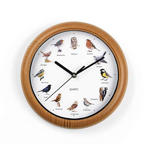 EASYmaxx Wanduhr mit Singvogelgesang | 12 Singvogelstimmen und naturgetreue Vogelmotive | Automatische Abschaltung zwischen 21 und 5 Uhr | Rahmen Holzoptik [Batterien Typ AA erforderlich, 25 x 4 cm]