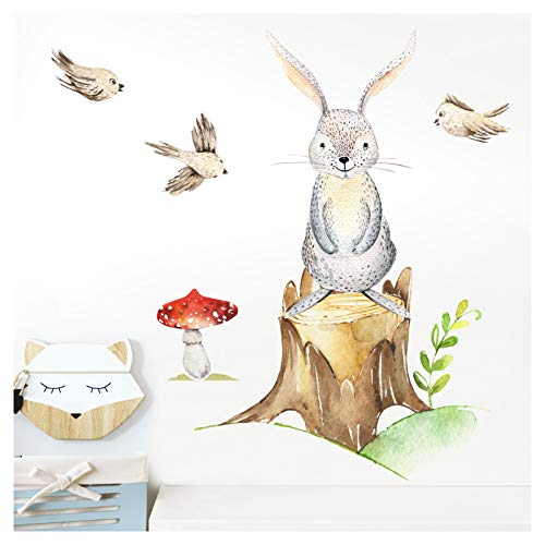 Little Deco Wandtattoo Kinderzimmer Mädchen Junge Hase Vögel Baum I (BxH) 49 x 49 cm I Wandaufkleber Wandsticker Aufkleber Baby Wald Tiere DL212-2