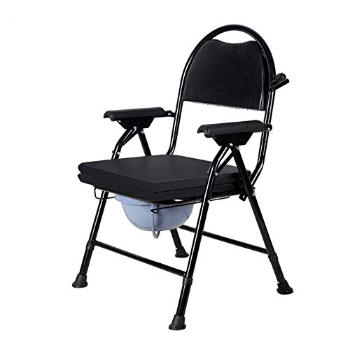 Toilet Chair, Foldable Commode Chair Toilet Lifter, Height Adjustable, with Rotating Paper Holder, Suitable for Pregnant Women, Elderly Patients/Black / 60x55x98cm