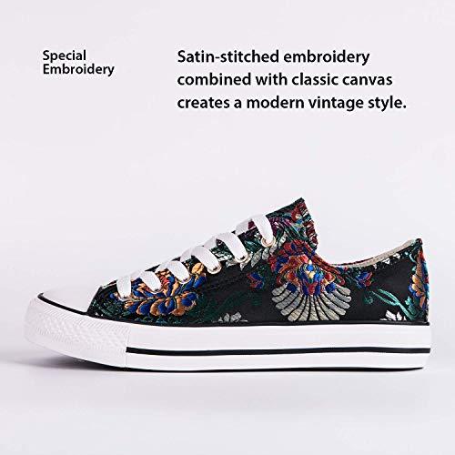HotRoad Zapatos de Lona Bordados para Mujer Zapatillas de Deporte para Mujer Zapatillas Negras de Corte bajo Zapatillas de Tenis para Mujer, Bordado de Flores / 38 EU