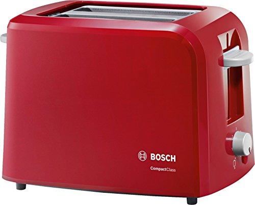 Bosch TAT3A014 CompactClass Kompakt-Toaster, Auftaufunktion, versenkbarer Brötchenaufsatz, Abschaltautomatik, 980 W, rot