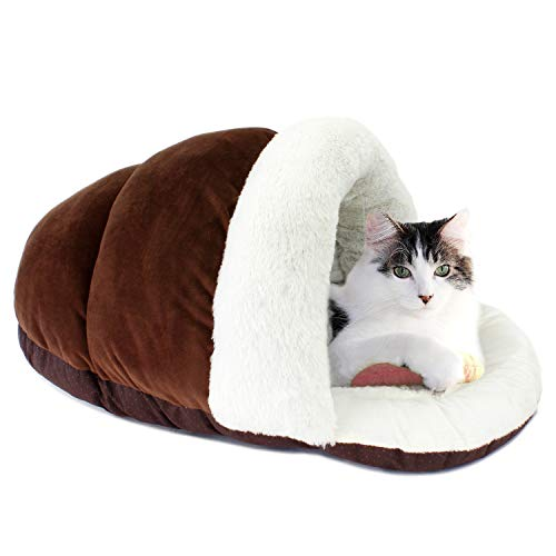 ASPCA Cave Bed for Cats, Cozy Slipper for Indoor Pets