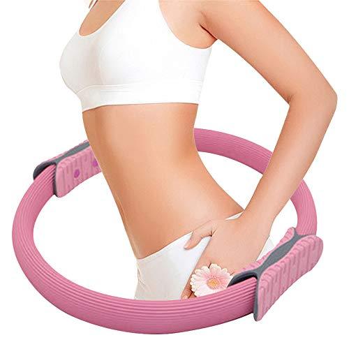 Anyutai Pilates Ring, Pilates Circle, Widerstandsringschlaufe, Pilates Yoga Ring mit Doppelgriff 38 cm Übungskreis für Fettverbrennung und Kerntraining Pink