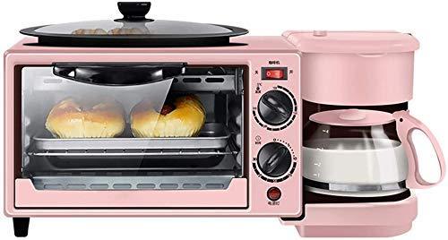 Gymqian 3-In-1-Frühstück Multi-Funktions-Retro Familie Kaffeemaschine Mit Wasserkocher Elektro-Toaster-Maschine Edelstahl-9L Ofen Mit Timing-30Min Egg Griddle Feiertagsgeschenk/Ro