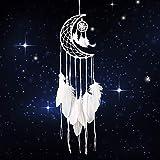 Dsaren Atrapasueños Blanco Hecho a Mano Medio Circulo Luna Plumas Atrapador de Sueños para Casa...