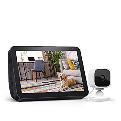 Echo Show 8 Charcoal with Blink Mini Indoor Smart Security Camera, 1080 HD with Motion Detection