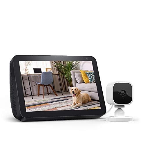Echo Show 8 Charcoal with Blink Mini Indoor Smart Security Camera, 1080 HD with Motion Detection - $70