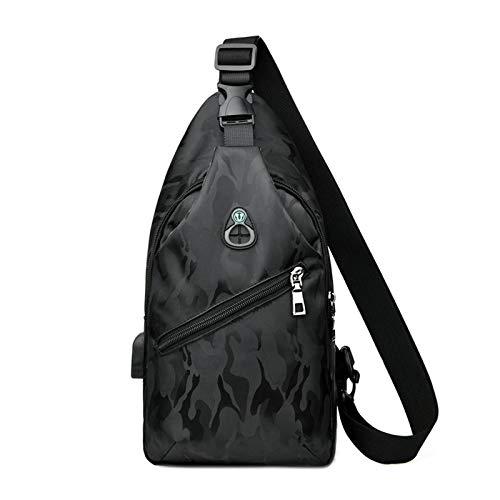 Nowbetter Bolso bandolera para hombre, impermeable, con puerto de carga USB, ligero e informal, color negro, Negro (Negro) - T2SZ9ZFNKO