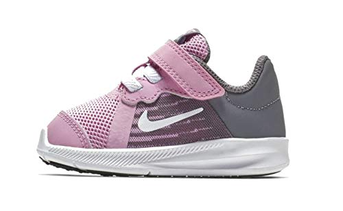 NIKE Downshifter 8 (Tdv), Pantofole Unisex-Bambini, multicolore, rosa (Pink Rise), bianco, grigio (Gunsmoke), nero, 602, 19.5 EU