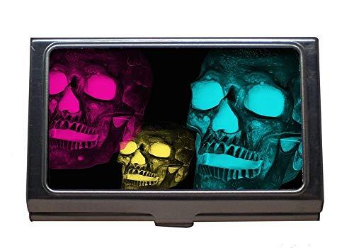 Edelstahl-Visitenkartenhalter, Schädel-Köpfe-Kunst-digitale Kunst-Knochen-Skelett-Tote, Visitenkarte-Kasten für Männer und Frauen