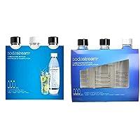 sodastream 3 bottiglie per gasatore d'acqua, modello fuse, compatibili con modelli gasatore source, play & bottiglie universali per gasatore d'acqua, capienza 1 litro, confezione da 3
