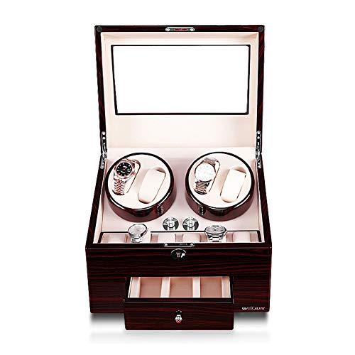 YZSHOUSE Caja automática de reloj con 5 modos de rotación, silencio antimicrobiano, caja de almacenamiento de 4+6 relojes (color blanco)