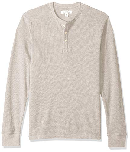 Amazon Brand - Goodthreads Men's Long-Sleeve Slub Thermal Henley, Heather Oatmeal, Large