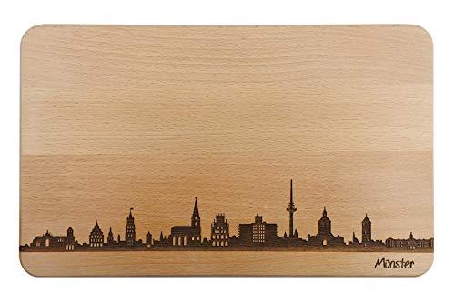 Brotzeitbrett Münster Skyline | Frühstücksbrettchen aus Buche | Holz Schneidbrett | Geschenk mit Gravur | Frühstücksbrett | Nordrhein-Westfalen (Standard (22x14x1cm), 1. ohne persönlicher Gravur)
